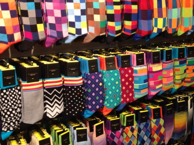 Socks in a mens' wear store